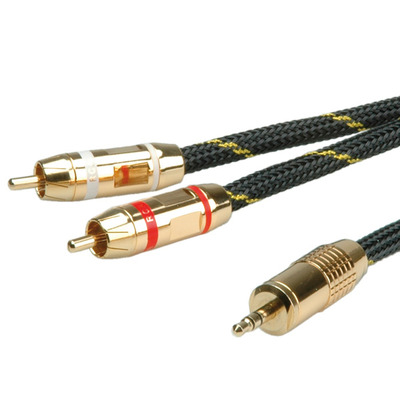 ROLINE Audio connection cable 3,5mm Stereo - 2 x Cinch (RCA) - Zwart,Goud