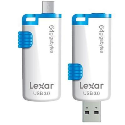 Lexar USB flash drive: 64GB JumpDrive M20 - Blauw, Wit