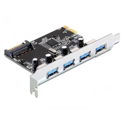 DeLOCK PCI-e 2.0 > 4x USB 3.0 Interfaceadapter - Zwart,Zilver