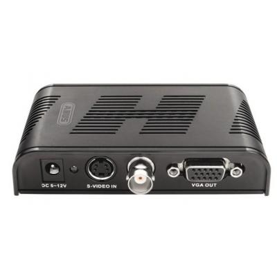 Abus video converter: BNC and S-Video signal is converted into VGA signal Converter, 1600 x 1200 Pixel - Zwart