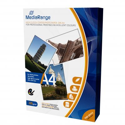 Mediarange fotopapier: DIN A4 Photo Paper for inkjet printers, high-glossy coated, 220g, 100 sheets - Wit