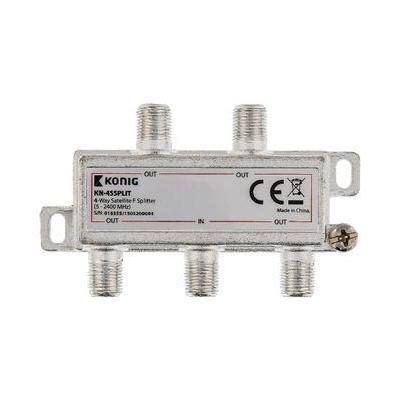 König kabel splitter of combiner: 4-wegs F-splitter satelliet 5 - 2400 MHz - Zilver