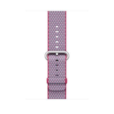 Apple : Bandje van geweven nylon - Bessenrood (geruit, 42 mm) - Roze, Paars