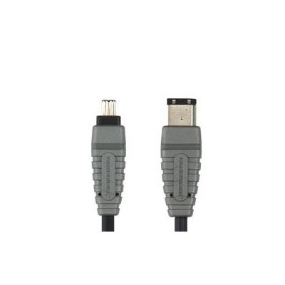 Bandridge fireware kabel: 2m FireWire 400 Cable - Zwart