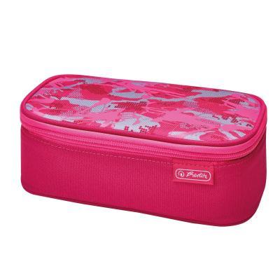 Herlitz potlood case: Camouflage pink - Grijs, Roze