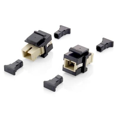 Equip 125572 Fiber optic adapter - Beige, Zwart