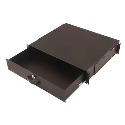 Digitus 2U lockable drawer with handle 88x481x400 mm, color black (RAL 9005) Rack toebehoren - Zwart