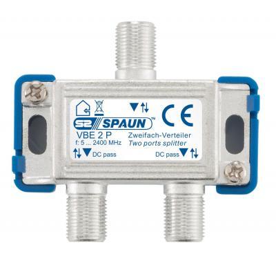 Spaun VBE 2 P Kabel splitter of combiner - Blauw, Zilver