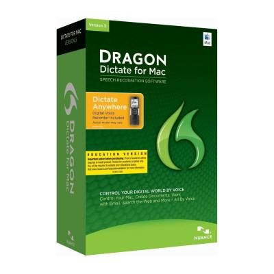 Nuance stemherkenningssofware: Dragon Dictate for Mac 3.0, Mobile, EDU