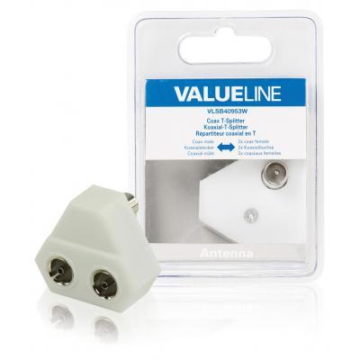 Valueline kabel splitter of combiner: Coax T-Splitter, coax mannelijk - 2x coax vrouwelijk, wit