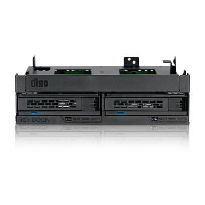 "Icy Dock 2x2.5"", SATA III/SAS-3, 12 Gbit/s, 145.8x135x41.3mm, 260.5g, Black Drive bay - Zwart"
