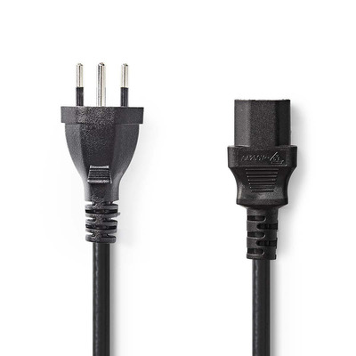 Nedis Voedingskabel, Stekker Type J (CH) - IEC-320-C13, 5,0 m, Zwart Electriciteitssnoer