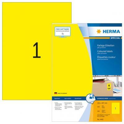 Herma etiket: Coloured Labels A4 210x297 mm yellow paper matt 100 pcs. - Geel