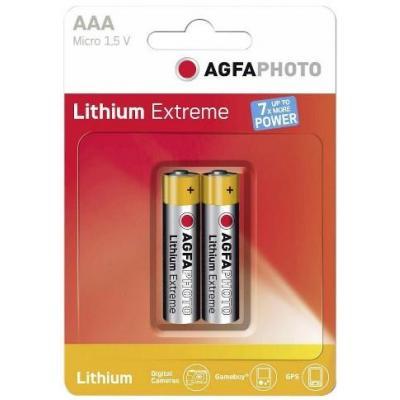 Agfaphoto batterij: 2x Lithium Micro AAA - Zilver, Geel