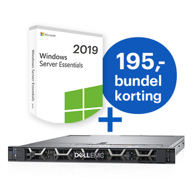 DELL PowerEdge R640 + Microsoft Windows 2019 Essentials bundel Server - Zwart