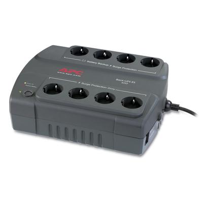 APC Back-400VA noodstroomvoeding 8x stopcontact UPS - Grijs