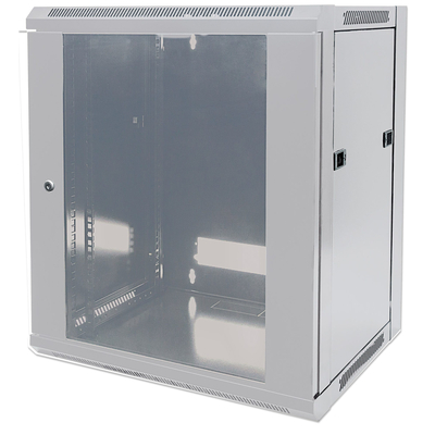 """Intellinet 19"""" Wallmount Cabinet, 12U, 635 (h) x 570 (w) x 600 (d) mm, Max 60kg, Flatpack, Grey Rack - Grijs"""
