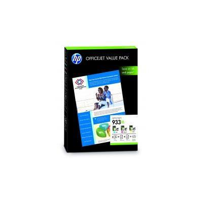 Hp printerkit: 933XL Officejet Value Pack (C/M/Y Cartridge + 75 sheet paper) - Cyaan, Magenta, Geel