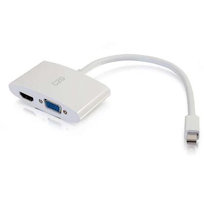 C2G 20cm Mini DisplayPort to HDMI or VGA Adapter Converter 4K UHD - White - Wit