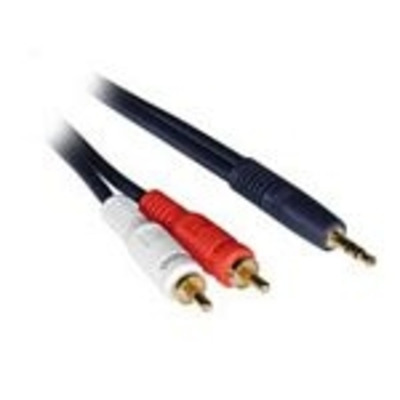 C2G 0.5m Velocity 3.5mm Stereo Male to Dual RCA Male Y-Cable - Zwart