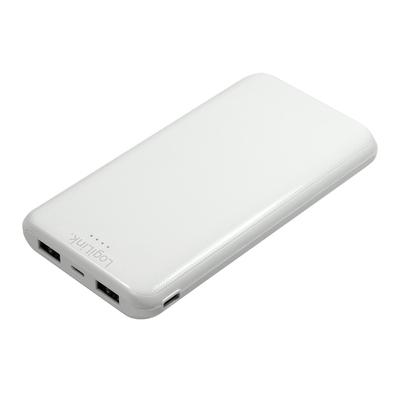 LogiLink LiPo, 10000 mAh, 2xUSB-A, 12W, 5V, 2A, 73x15.5x139.5mm 188g, White Powerbank - Wit
