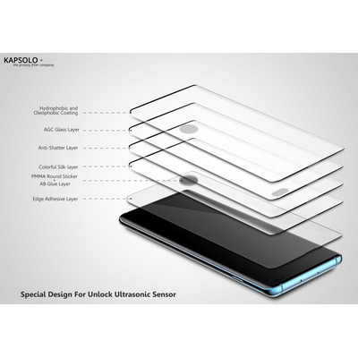 KAPSOLO Tempered GLASS Screen Protection, curved, Ultimate, Microbial Huawei P20 Black Screen protector