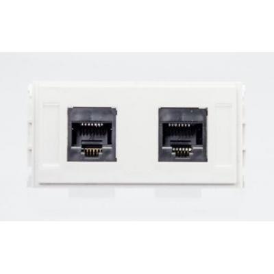 VivoLink Outlet Panel 2 x RJ45, CAT5e, White Wandcontactdoos - Wit