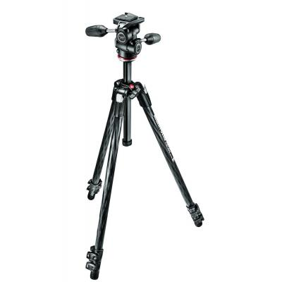 Manfrotto tripod: 290 XTRA CARBON Kit, CF 3 sec. tripod with 3W head - Zwart