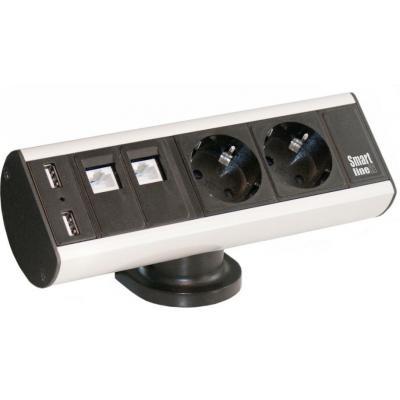 Kondator energiedistributie: Smartline Desk - 2 Power 2 Data 2 USB, Alu/Black - Aluminium, Zwart