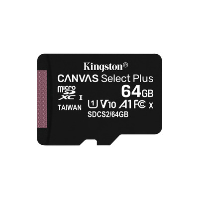 Kingston Technology Canvas Select Plus micSDXC 64GB Flashgeheugen - Zwart