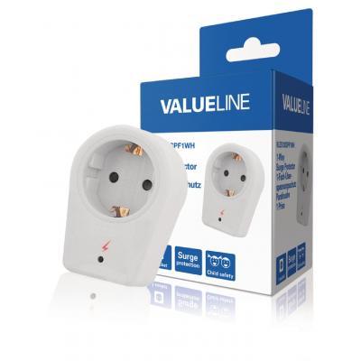 Valueline power extrention: 1-wegs schuko-adapter overspanningsbeveiliging wit
