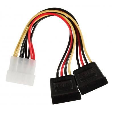 Valueline : Internal power splitter cable Molex male - 2x SATA 15-pin female 0.15 m multicolour - Zwart, Rood, Wit, Geel