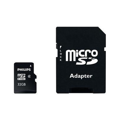 Philips Micro SD-kaarten, 32 GB, Klasse 4 Flashgeheugen - Zwart