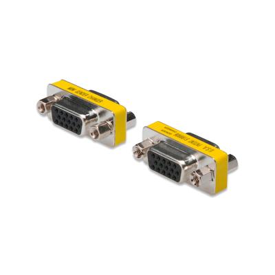 Digitus Gender Changer, D-Sub15 metal housing, F/F, with Hex screws Kabel adapter - Roestvrijstaal,Geel
