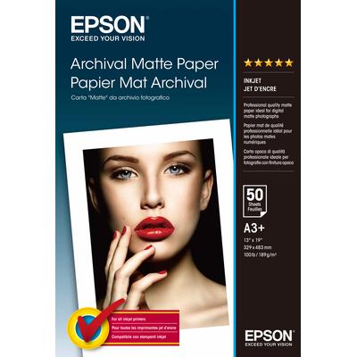 Epson Archival Matte Paper, DIN A3+, 189g/m², 50 Vel Papier - Wit