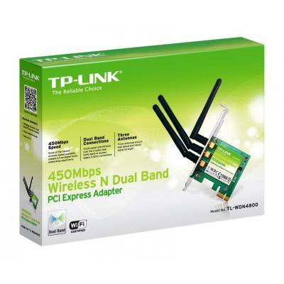 Tp-link netwerkkaart: 450Mbps draadloze N tweebands PCI express adapter, 3x 2dBi, IEEE 802.11n, IEEE 802.11g, IEEE .....