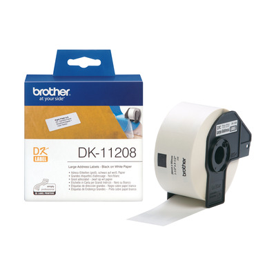 Brother DK Die-Cut label: 90 mm x 38 mm - Groot adreslabel - wit (400 labels/rol) Labelprinter tape