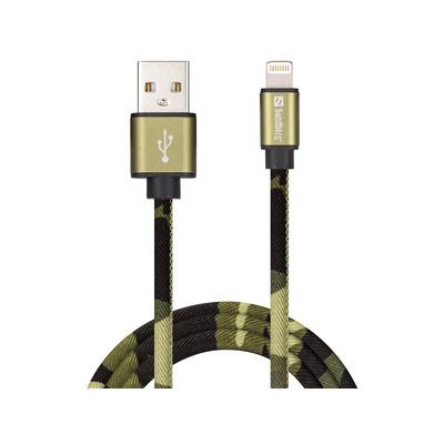 Sandberg Lightning Green Camouflage 1m USB kabel