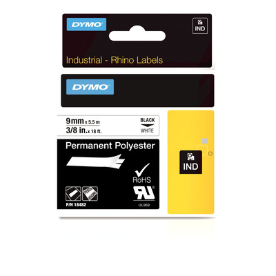 DYMO IND Permanent Polyester, 9mm x 5.5m Labelprinter tape - Multi kleuren