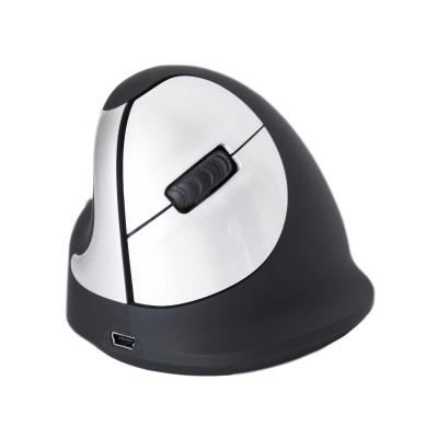 R-Go Tools HE Mouse Wireless - Medium - Linkshandig Computermuis - Zwart, Zilver