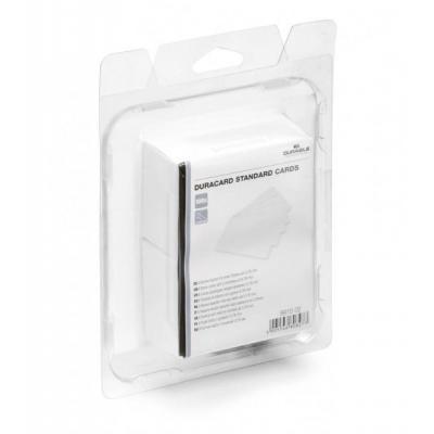 Durable lege plastic kaart: Duracard standard cards, white, PVC, 0.76 mm, 100 pcs - Wit