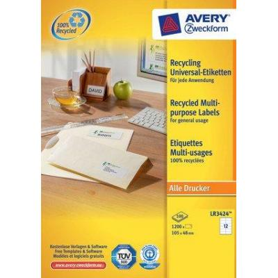Avery LR3424 - Addressing Labels from 100% recycled paper, 105 x 48 mm Etiket - Wit