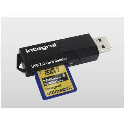 Integral geheugenkaartlezer: USB 3.0 Card Reader - Zwart