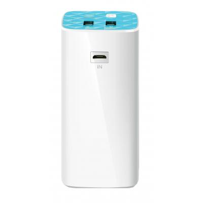 Tp-link powerbank: 10400mAh, 2 USB ports(5V/1A, 5V/2A), 1 Micro USB port, Built-in flashlight - Blauw, Wit