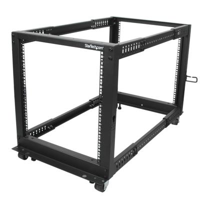 StarTech.com 12U open-frame servermet 4 stijlen met verstelbare diepte incl. zwenkwielen/stelpoten en .....