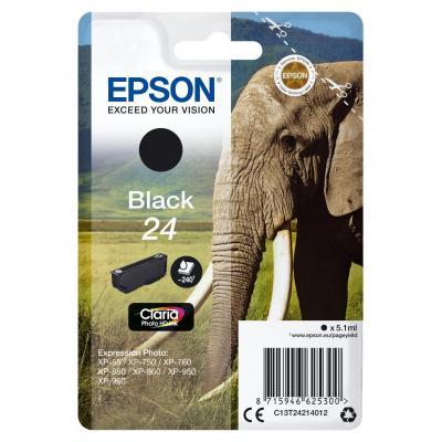 Epson inktcartridge: 24 inktcartridge zwart standard capacity 5.1ml 240 pagina s 1-pack blister zonder alarm