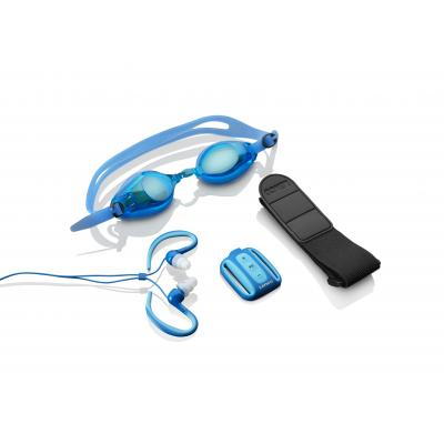 Lenco MP3 speler: Xemio-1000, 8GB Flash, IPX8, MP3/WMA, 128mAh - Blauw