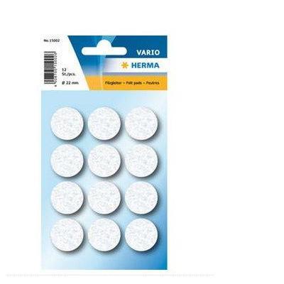 Herma bureaulegger: Protectiv feltpads white Ø 22 mm - Wit