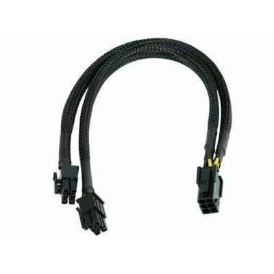 Phobya : Y-cable 6Pin socket to 2x 6Pin plug - black - Zwart