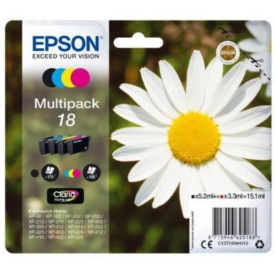 Epson inktcartridge: 18 inktcartridge zwart en drie kleuren standard capacity 15.1ml 4-pack blister zonder alarm - .....